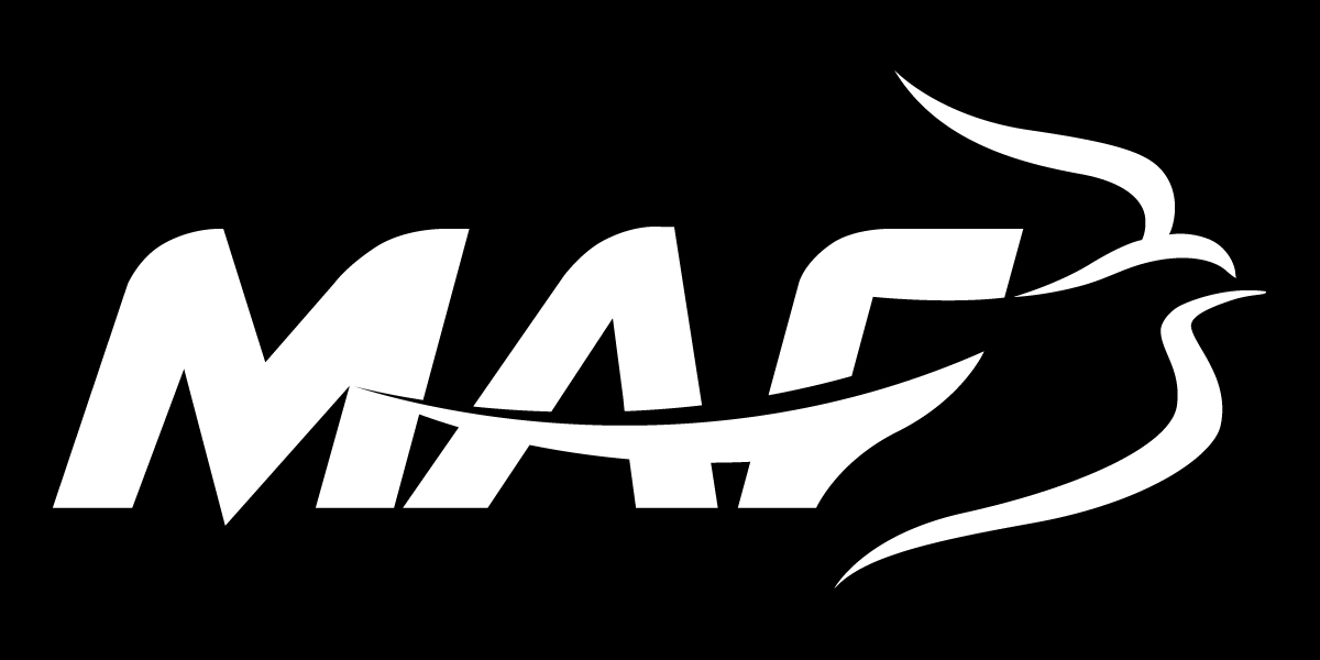 MAF Logo, white on black