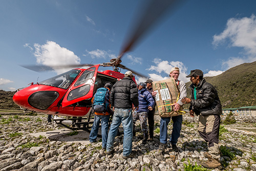 MAF coordinates helicopter transportation to remote areas of Nepal following the earthquakes. Photo by Dave Forney.